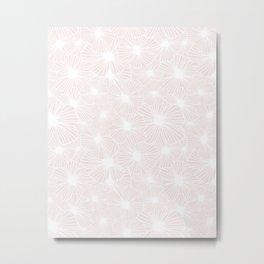 18 Cream Linear Flowers Metal Print