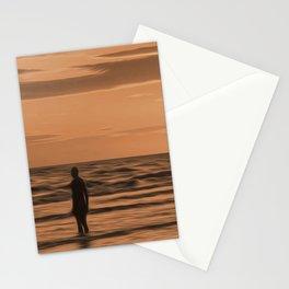 A Gormley Iron man at sunset (Digital Art) Stationery Cards