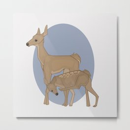 Deer Mother and Fawn Metal Print