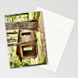 Abandoned brick building in the woods Stationery Cards