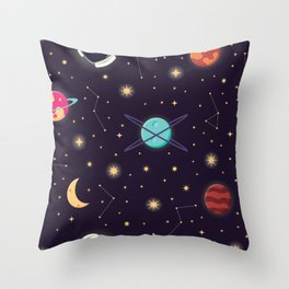 Universe with planets, stars and astronaut helmet seamless pattern 001 Throw Pillow