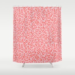 Coral Leopard Print - Living Coral design | Girly Pastel Cheetah Shower Curtain