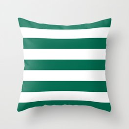 Bangladesh green - solid color - white stripes pattern Throw Pillow