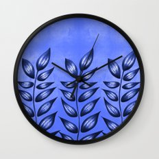 Blue Plant With Pointy Leaves Wall Clock