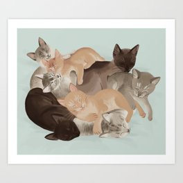 Big Ol' Pile of Cats Art Print
