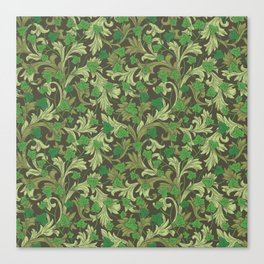 Green ivy with ornament on dark brown background Canvas Print