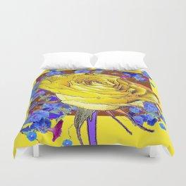 YELLOW ART & YELLOW ROSE BLUE MORNING GLORY Duvet Cover