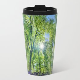 Perfect lens flare in a summer afternoon in the forest Travel Mug