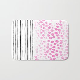 Dot Stripe hot pink black and white minimal abstract painting pattern trendy boho urban bklyn art Bath Mat