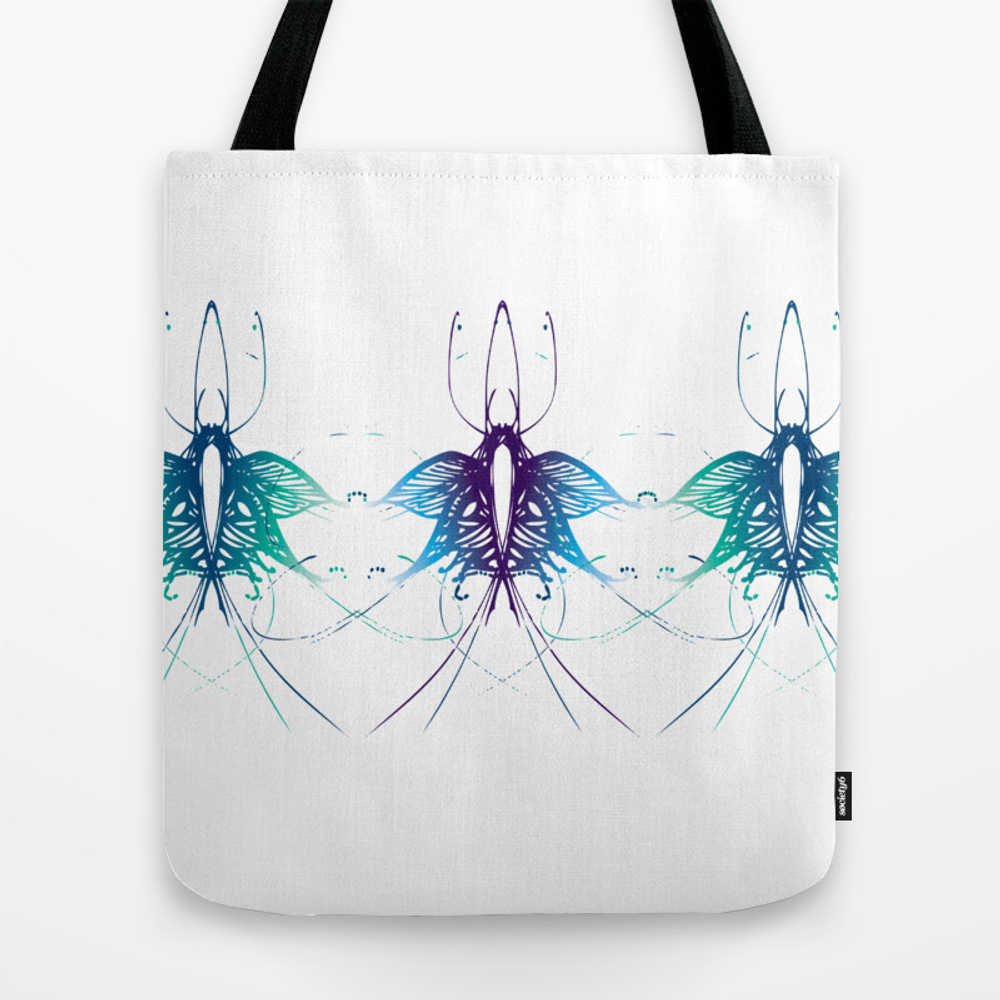 Line-art Butterfly Trio In Blue Tote Bag by Brightapril TBG9243597