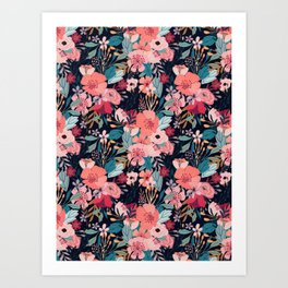Pink and navy Bouquets Art Print