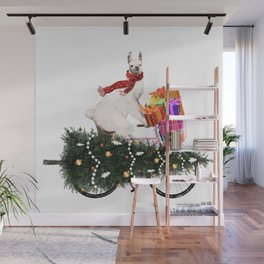 Llama Bringing Home Christmas Tree Wall Mural