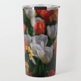 Colorful White and Orange Tulip Carpet Travel Mug