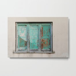 Window with turquoise blinds Metal Print