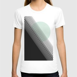 Rising Sun Minimal Japanese Abstract White Black Mint Green T-shirt