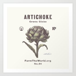 Farm the World Artichoke Seed Packet Art Print