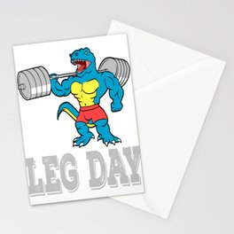 "A Motivation Tee For You Illustration ""Leg Day"" Of A Dinosaur T-shirt Design Lifting Heavy Weights Stationery Cards"