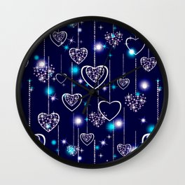 Openwork hearts on bright blue background. Wall Clock