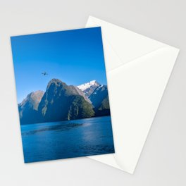 A small boat in the morning at Milford Sound Stationery Cards