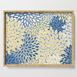 Modern, Flowers Print, Yellow, Blue and White Serving Tray