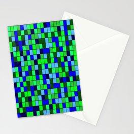 Aqua Squares Stationery Cards