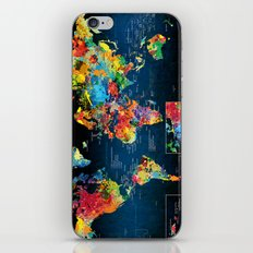 World Map Black - 2 iPhone Skin