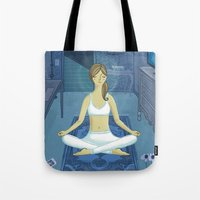 meditation Tote Bags featuring Meditation by Anne Was Here