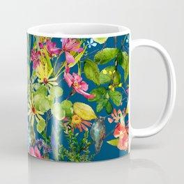 Watercolor flower garden with hummingbird Coffee Mug