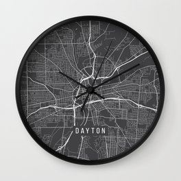 Dayton Map, USA - Gray Wall Clock