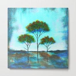Blessings, Skinny Trees Rustic Art Metal Print