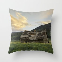 Sunset Over An Abandoned Cabin Throw Pillow