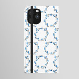 Blue and Gray Watercolor Leaf Wreath iPhone Wallet Case
