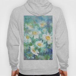 watercolor drawing - white daisies on a blue and green background, beautiful bouquet, painting Hoody