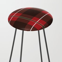 Red, Black and Green Striped Plaid Counter Stool