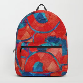 Red and Blue Diamond Pattern Backpack