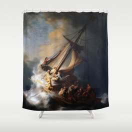 Stolen Painting - The Storm on the Sea of Galilee by Rembrandt Shower Curtain