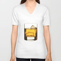 whiskey V-neck T-shirts featuring Old Scotch Whiskey by Franco Nico