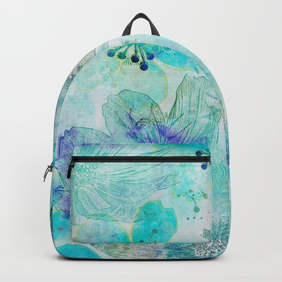 blue turquoise mixed media flower illustration Backpack