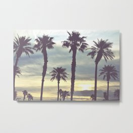Los Angeles Sunset Palm Trees Metal Print