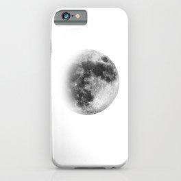Waxing Gibbous | 3/4 Moon | Black-and White | Space | Watercolor Painting | Illustration iPhone Case