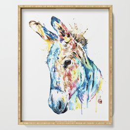 Donkey Colorful Watercolor Painting by Lisa Whitehouse Serving Tray