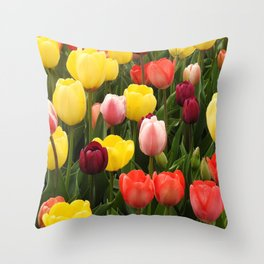 Nature, Natural Texture, Pattern, Flowers, Tulips Throw Pillow