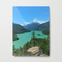 Snowy Mountain Turquoise Lake in Washington Metal Print
