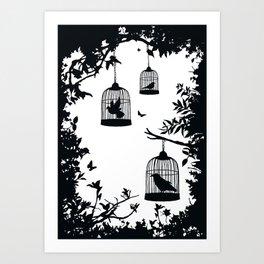 3 Birdcages Art Print