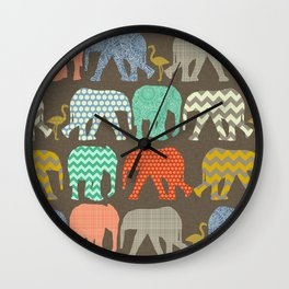 baby elephants and flamingos Savannah Wall Clock