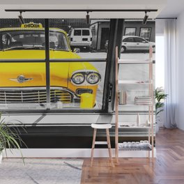 vintage yellow taxi car with black and white background Wall Mural