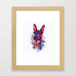 Drippy Jazzy German Shepherd Colorful Dog Art by Jai Johnson Framed Art Print
