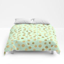 Mint Green & Gold Polka Dot Pattern Comforters