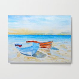 Watercolor beach and fishing boats Metal Print