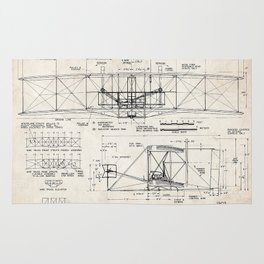 WRIGHT FLYER FIRST AIRPLANE 1903 ART PRINT POSTER BROTHERS ORVILLE WILBUR FLYING Rug
